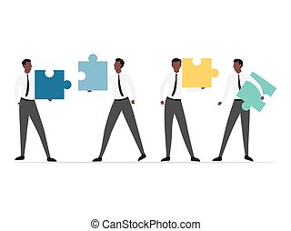 African people connecting puzzle.