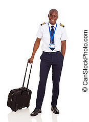 african pilot with briefcase isolated on white - smiling...