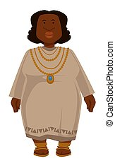 African plump woman in dress and jewelry isolated female...
