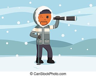 African polar explorer use telescope