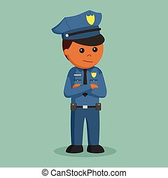 African police officer standing