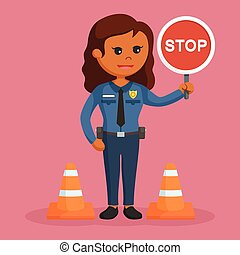 African police woman with stop sign
