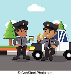 African policeman and policewoman chat