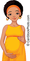 African pregnant woman prepared to