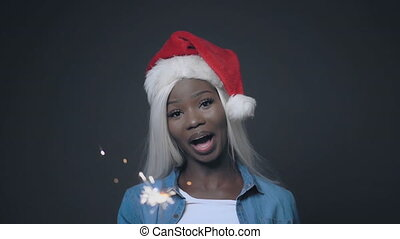 African pretty woman with white hair Happy christmas - ...