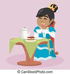african princess drinking tea and eating cake