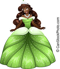 Vector illustration of a beautiful african princess in green dress.