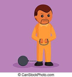 African prisoner chained with iron ball