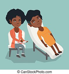 Young african-american patient lying on the sofa and talking about problems with psychotherapist or psychologist. Psychologist having session with a patient. Vector cartoon illustration. Square layout