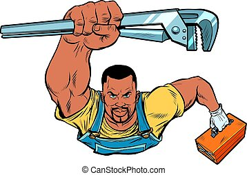 African repairman with an adjustable wrench