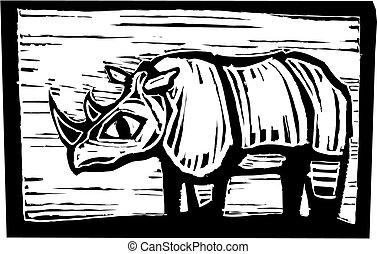 African Rhino in woodcut style in border.