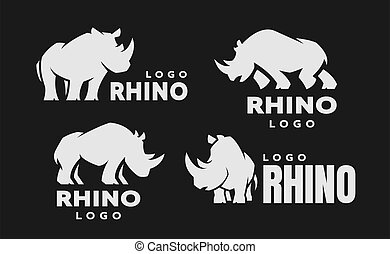 African rhino silhouette. Set of logos on a dark background. Vector illustration.