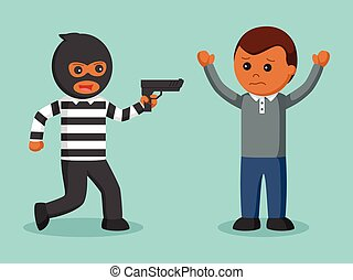African robber pointing gun at someone