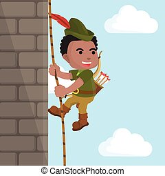 African robin hood climbing castle wall