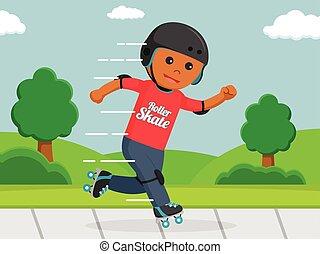 African roller skater in park