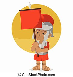 African roman soldier holding banner