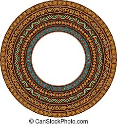 African round mandala with adinkra symbols. Antique pattern....