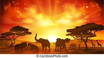 African Safari Animal Savannah Silhouette Scene
