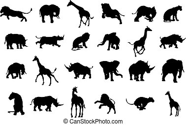 African Safari Animal Silhouettes - An African safari animal...