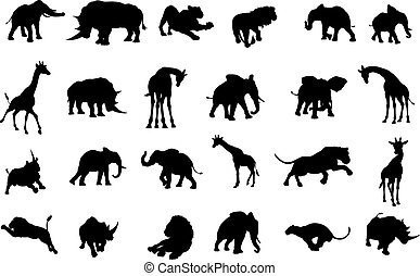 African Safari Animals Silhouettes - A safari African animal...