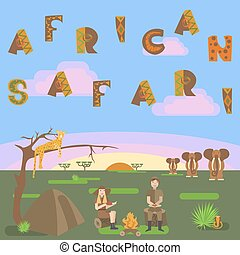 African safari concept with animals, leopard, elephant,...