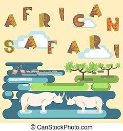 African safari concept with animals, flamingo, hippo. Flat...