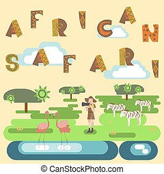African safari concept with people and animals. Flat...