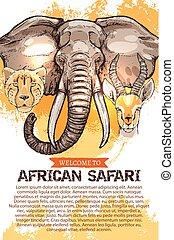 African safari hunting season club vector poster