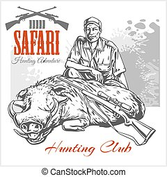 African safari  illustration and labels for hunting club.