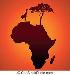 African Safari Map Silhouette Vecto