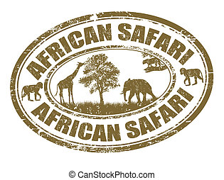 African safari stamp - African safari grunge rubber stamp on...