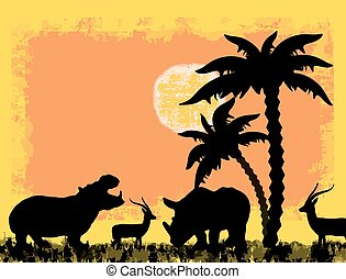 African safari theme with hippo, rhino and antelope, against...