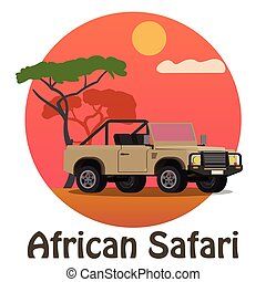 African Safari - Tourist jeep on the background of the savanna. Vector concept.