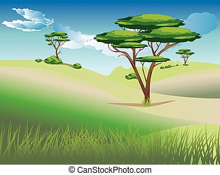 African Savanna Landscape - Illustration of african...