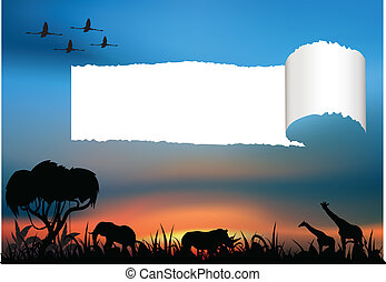 African savanna with animals