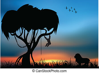 African savanna with lion and monkey and sunlight in the...