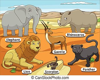 African savannah animals with names cartoon