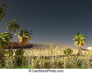 African savannah with abundant and vivid plant life 3d rendering