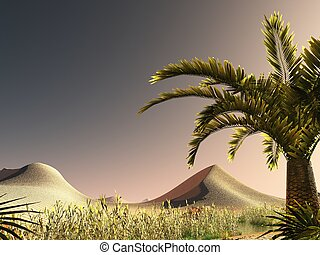 African savannah with lush and radiant vegetation 3d...