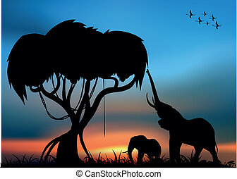 African savvanna with elephants