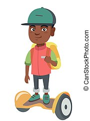 African schoolboy riding on gyroboard to school.