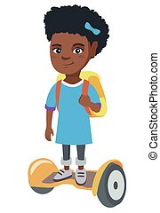 African schoolgirl riding on gyroboard to school.