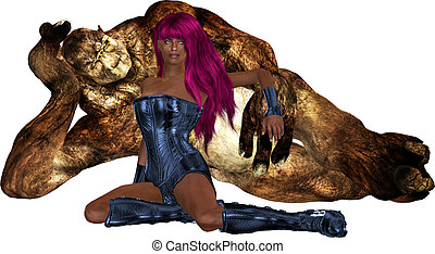 African Sci Fi Woman With Her Guardian - African sci fi...