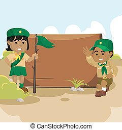 African scout boy and girl with sign board