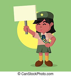 African scout girl holding sign