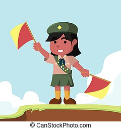 African scout girl playing semaphore