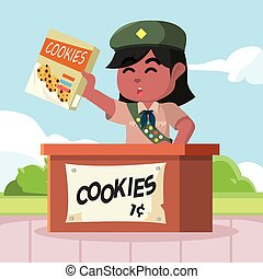 African scout girl selling cookies