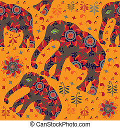 African seamless pattern with elephants on orange background an