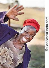 african senior citizen woman greeting