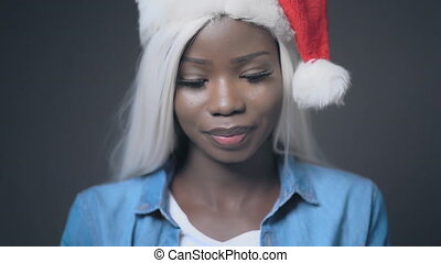 African sexy girl with white hair Happy christmas - Afro-...